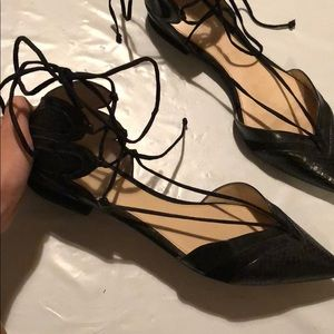 Shoes - Zara Lace-Up Black Leather Pointy Flats
